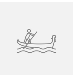 Sailor rowing boat line icon vector