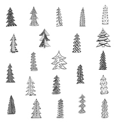Doodle christmas tree set on white background vector