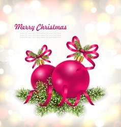 Merry christmas celebration card with glass ball vector