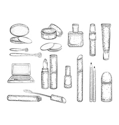 Detailed sketch of elements for make-up vector