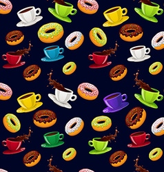 seamless pattern donuts and coffee vector image
