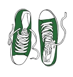 Green sports sneakers with white laces vector