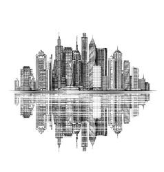 Modern city skyline silhouette vector
