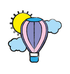 Air balloon in the sky with clouds and sun vector