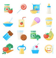 baby food flat icon set vector image vector image