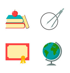 Books an apple a compass with a circle a vector