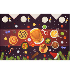 christmas table top view dishes with turkey vector image