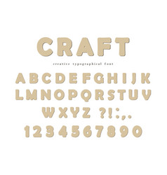 Craft typographical font cardboard abc letters vector