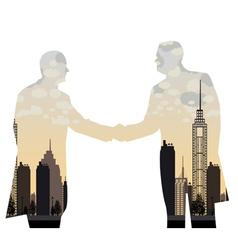 double exposure handshake businessman on city vector image