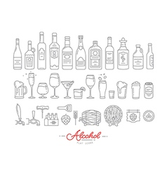 Flat alcohol icons vector image vector image