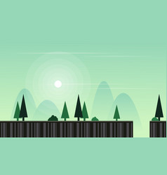Flat game background with landscape vector