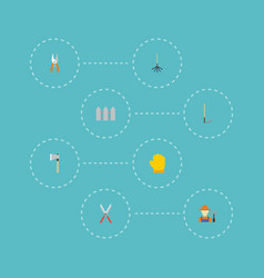 flat icons axe rake latex and other vector image vector image