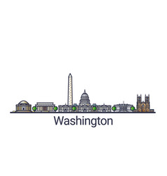 flat line washington banner vector image