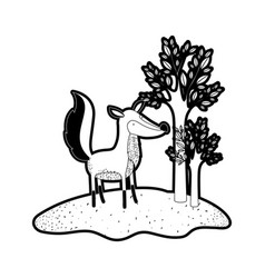 fox cartoon in forest next to the trees in black vector image