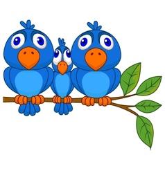 Funny blue bird cartoon vector image