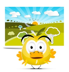 Funny yellow chicken on field landscape picture vector