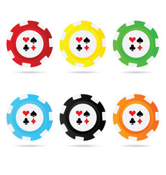 Gambling chips set leisure vector