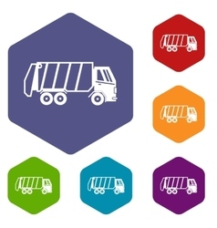Garbage truck icons set vector