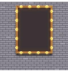 Light bulb frame on brick wall vector