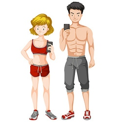 Man and woman with muscular body vector
