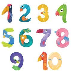 Numbers like birds in fairy style vector