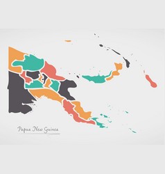Papua new guinea map with states and modern round vector