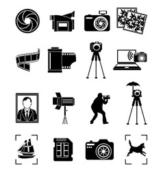 Photography icons set vector image vector image