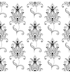 Repeat seamless pattern of persian floral motifs vector