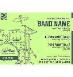 Rock music concert drum set horizontal music flyer vector