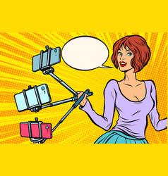 selfie stick woman vector image