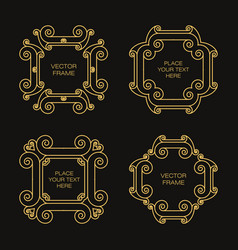 set of four frame in outline style vector image