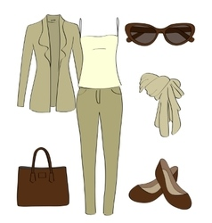 set of women clothes and accessories vector image vector image