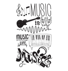 Set with isolated doodle music instruments quote vector image
