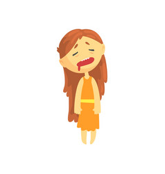 sick girl with long hair unwell teen needing vector image vector image