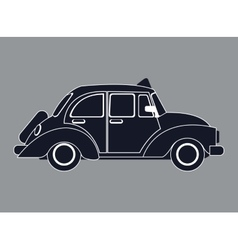 Silhouette old taxi car side view vector