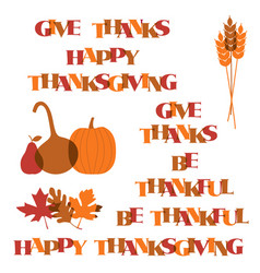 thanksgiving typography graphics and icons vector image