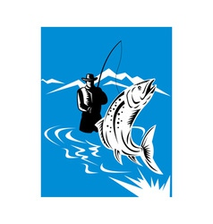 trout fish jumping reeled by fly fisherman vector image vector image