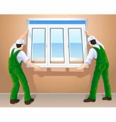 workers and plastic window vector image