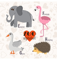 Zoo alphabet with funny animals e f g h letters vector