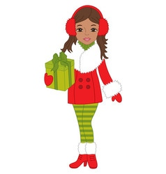 African american christmas girl vector