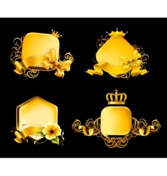 Golden frame on black set vector