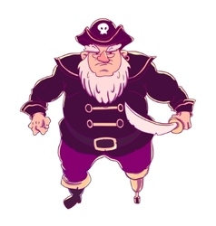 One-legged bearded pirate in a cocked hat with vector