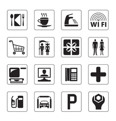 Gas station mall and motel icons set vector