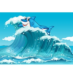 A shark above the big waves vector image