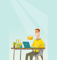 Businessman receiving or sending email vector