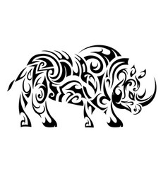 Rhino ethnic tattoo vector