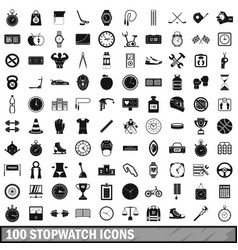 100 stopwatch icons set simple style vector image