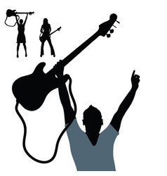 Girl and man silhouette with guitar vector