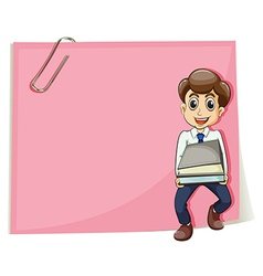 A pink empty paper with a businessman carrying vector