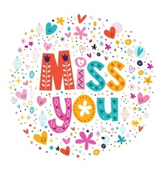 Miss you typography lettering decorative text card vector